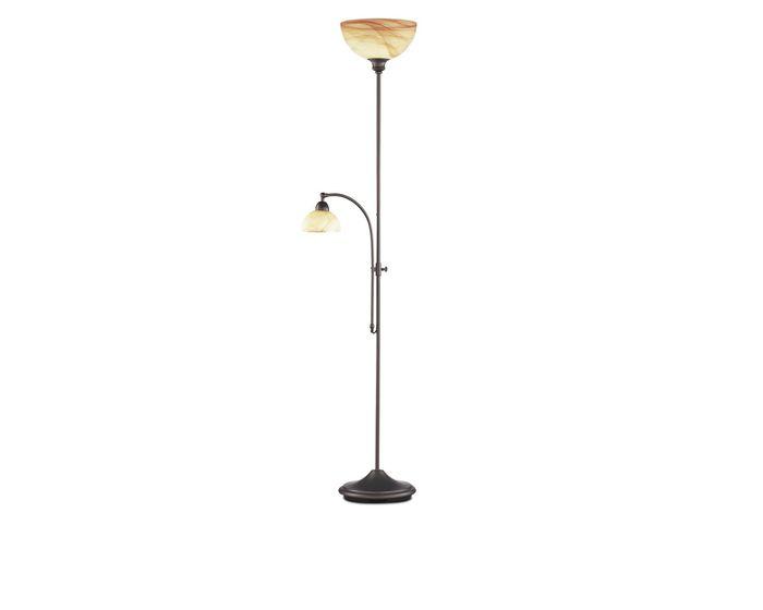 WOFI Stojací lampa LACCHINO 2x E27, E14 max. 150 W + max. 40 W antick (3128.02.09.0000)
