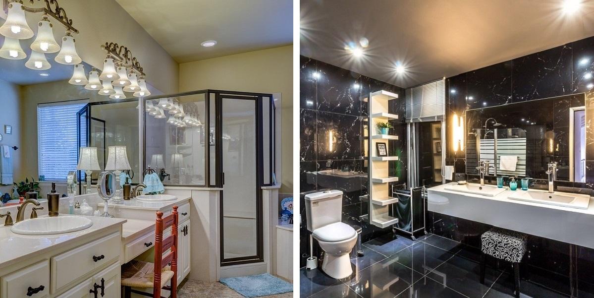 Osvetlenie kúpeľne - vintage vs. moderný štýl