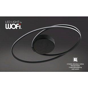WOFI Stropné svietidlo NIA černé LED 19,5W 1350lm 3000K stmívatelné