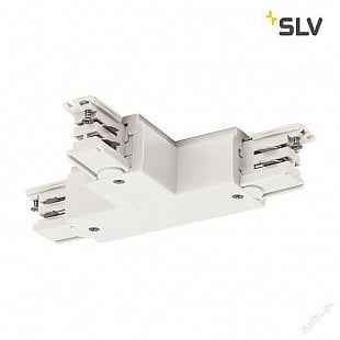 SLV T spojka pro vysokonapěťovou 3fázovou montážní kolejničku S-TRACK, země vlevo, dopravní bílá