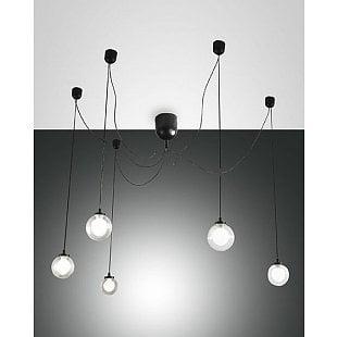 FABAS BLOG LED SUSPENSION LAMP BLACK 5 LIGHTS